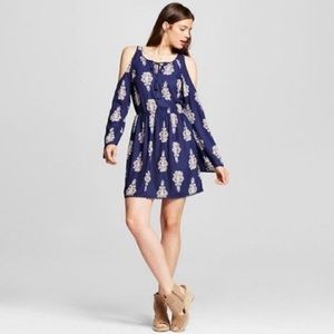 🆕Navy Boho Tribal Paisley Cold Shoulder Dress